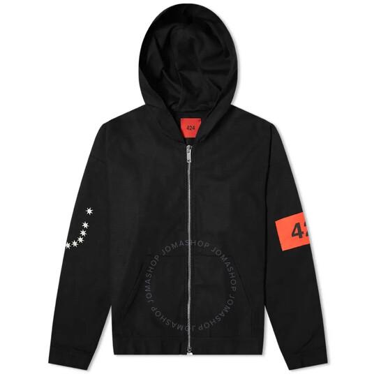 424 Mens Elastic Back Waistband Zip Cotton Hoodie In Black