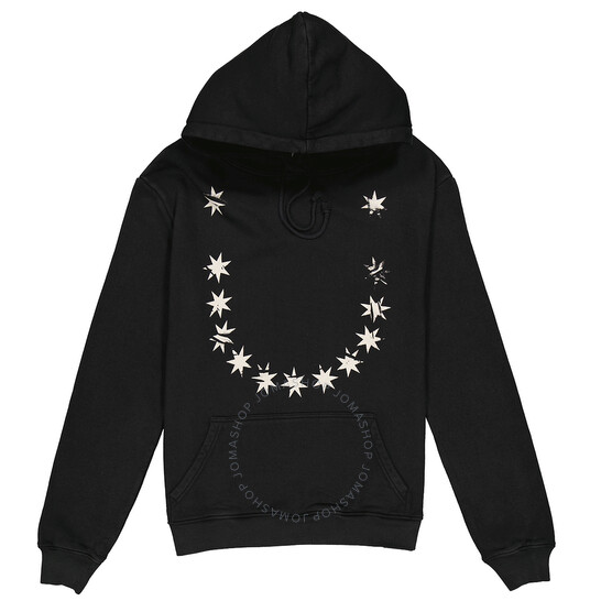 424 Mens Star Print Hoodie In Black