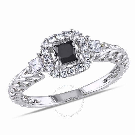 Amour 5/8 CT TW Black & White Princess-Cut Halo Diamond Engagement Ring in 14k White Gold JMS004629-0800 | Joma Shop