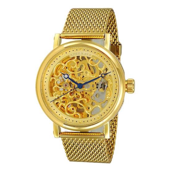 Adee Kaye AK6463 Automatic Gold Skeleton Dial Men's Watch AKJ6463-0G2MG   Joma Shop
