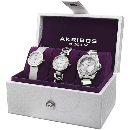 Akribos Xxiv Women's Watch Set White Dial Ladies Watch (AK766SS)