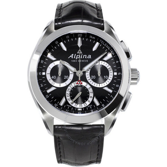 Alpina Alpiner 4 Flyback Chronograph Black Dial Leather Strap Men's Watch AL-760BS5AQ6 | Joma Shop