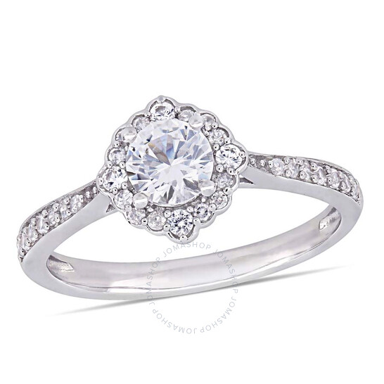 Amour 1/10 CT Diamond TW And 4/5 CT TGW Created White Sapphire Fashion Ring 10k White Gold JMS005327-0900   Joma Shop