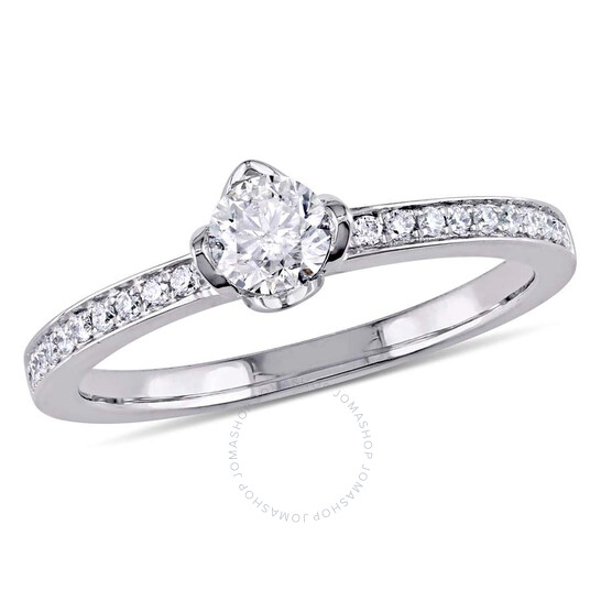 Amour 1/2 CT TW Raised Diamond Floral 14K White Gold Engagement Ring- Size 10   Joma Shop