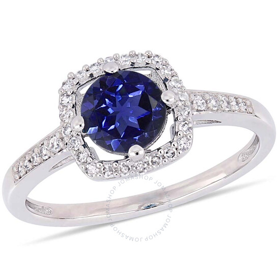 Amour 1 CT TGW Created Blue Sapphire and 1/7 CT TW Diamond Halo Ring in 10k White Gold JMS005035-0900 | Joma Shop