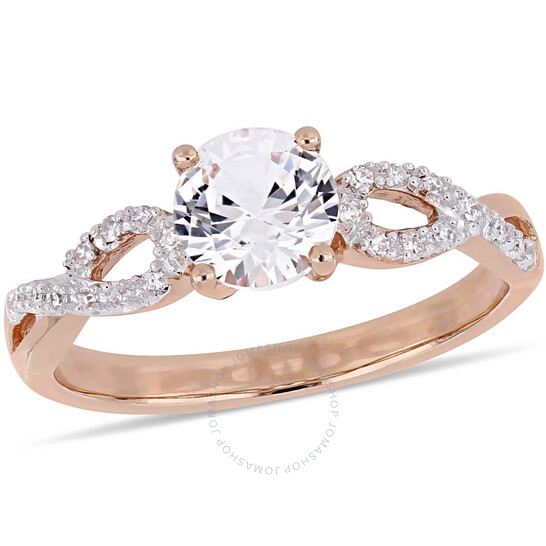 Amour 1 CT TGW Created White Sapphire and 1/10 CT TW Diamond Infinity Engagement Ring in 10k Rose gold JMS004998-0800   Joma Shop