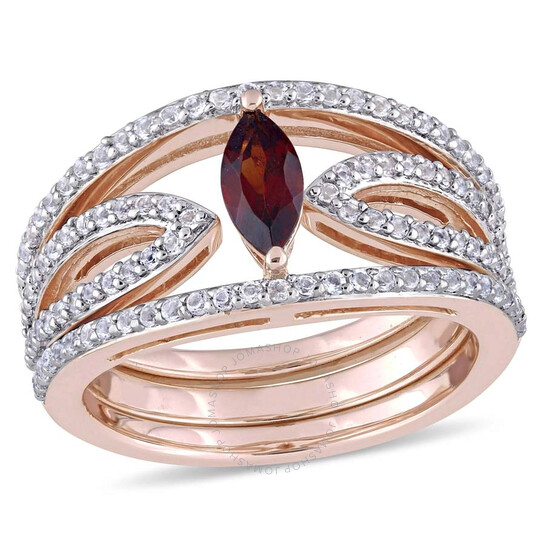 Amour 1 CT TGW Leaf-Shaped Genuine Garnet and White Topaz Ring JMS004156-0800   Joma Shop