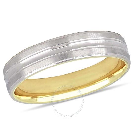 Amour 10K 2-tone 5 mm Textured Men's Wedding Band JMS005355-1300 | Joma Shop