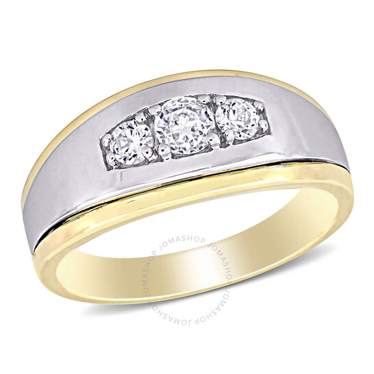 Amour 10k Two-Tone Gold 5/8 CT TGW Created White Sapphire 3-Stone Men's Ring | Joma Shop