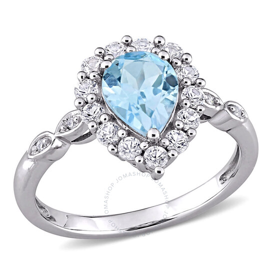 Amour 10k White Gold 0.02 CT TDW Diamond and 2 CT TGW Sky Blue Topaz and Created White Sapphire Halo Ring   Joma Shop