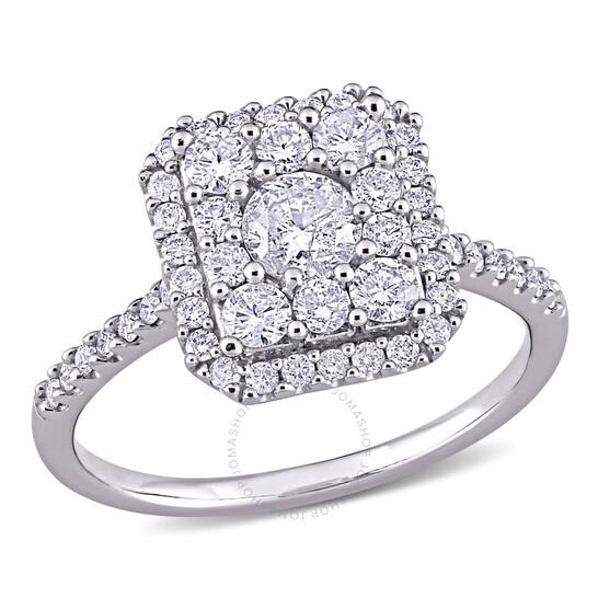 Amour 10k White Gold 1 CT TW Diamond Composite Square Shape Halo Engagement Ring | Joma Shop