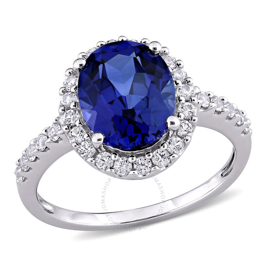 Amour 10K White Gold 4 3/4 CT TGW Created Blue Sapphire and Created White Sapphire Cocktail Ring   Joma Shop