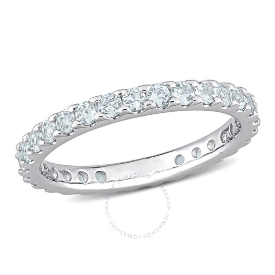 Amour 10k White Gold 7/8 CT TGW Aquamarine Eternity Ring   Joma Shop