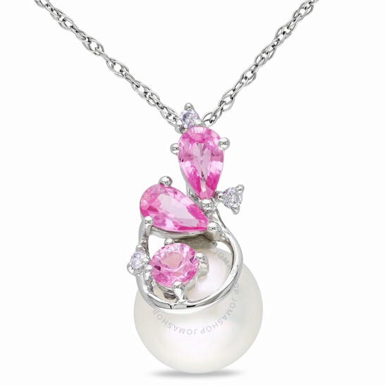 Amour 10k White Gold 8.5-9 mm Freshwater Cultured White Pearl and 0.03 CT TDW Diamond with 5/8 CT TGW Pink Sapphire Pendant w/Chain JMS005709 | Joma Shop