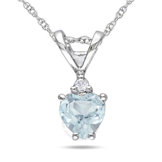 Amour 10K White Gold Aquamarine and Diamond Necklace JMS002677 | Joma Shop