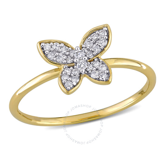 Amour 10k Yellow Gold 1/8 CT TDW Diamond Butterfly Ring | Joma Shop