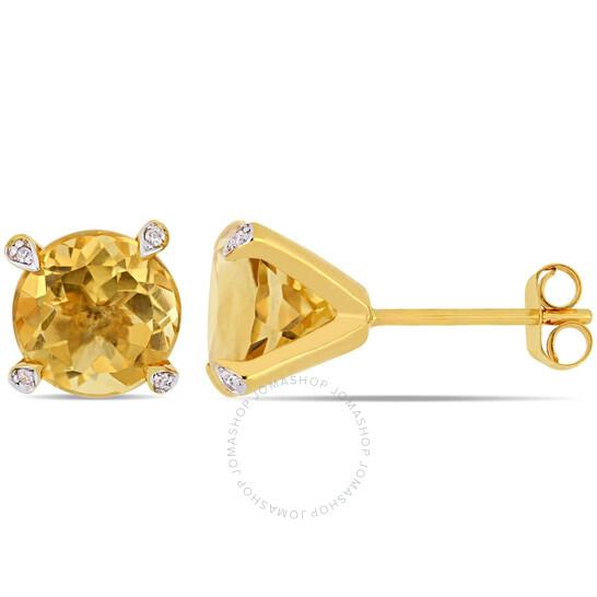 Amour 10K Yellow Gold 3 3/4 CT TGW Citrine and 0.024 CT TDW Diamond Stud Earrings | Joma Shop