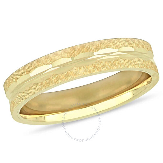 Amour 10K Yellow Gold 5 mm Textured Men's Wedding Band JMS005369-1300 | Joma Shop