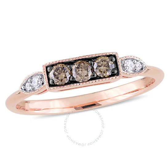 Amour 1/4 CT TW Dark Brown and White Diamond Ring in 10k Rose Gold JMS005298-0900 | Joma Shop