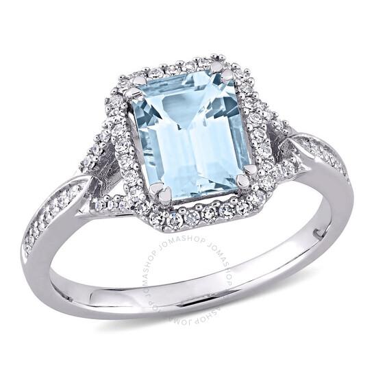 Amour 14K White Gold 1/5 CT TDW Diamond and 1 7/8 CT TGW Aquamarine Halo Ring   Joma Shop