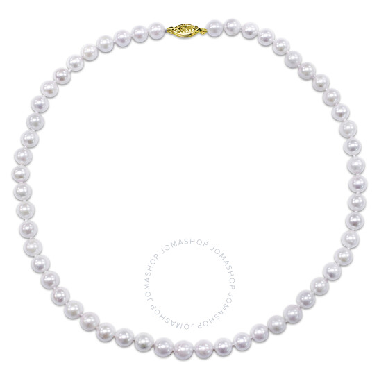 Amour 14K Yellow Gold 7-7.5 mm Akoya Cultured Pearl Necklace w/ Fish Eye Clasp | Joma Shop