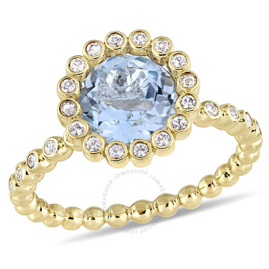 Amour 2 5/8 CT TGW Sky-Blue Topaz and White Sapphire Scalloped Halo Ring in 10k Yellow Gold JMS004920-0900 | Joma Shop