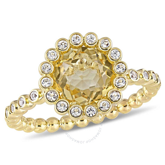 Amour 2 CT TGW Citrine and White Sapphire Beaded Halo Ring in 10k Yellow Gold JMS004924-0900 | Joma Shop