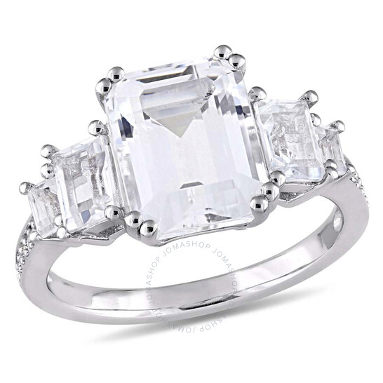 Amour 5 1/10 CT TGW White Topaz & Diamond Accent Sterling Silver Estate Ring- Size 5   Joma Shop