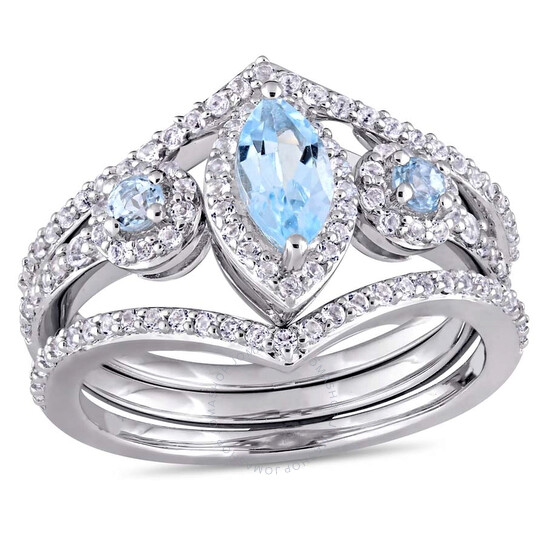 Amour Ladies 1-2/5 CT TGW Leaf and Round-Shaped White and Blue Topaz Ring JMS004150-0900   Joma Shop