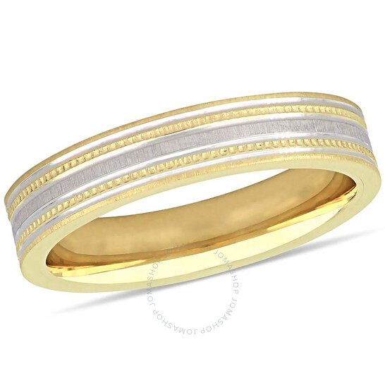 Amour Ladies 10K Two-Tone Gold Lightweight 4mm Wedding Band JMS005358-0900 | Joma Shop