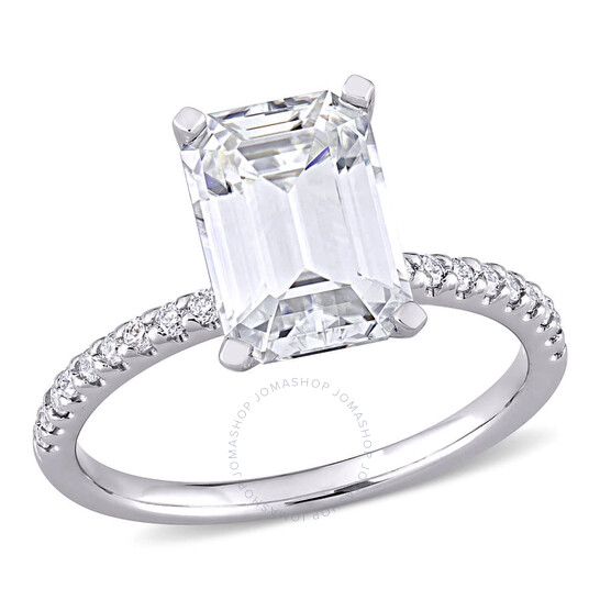 Amour Ladies 10k White Gold 3 Ct Emerald Cut White Moissanite Pave Ring   Joma Shop