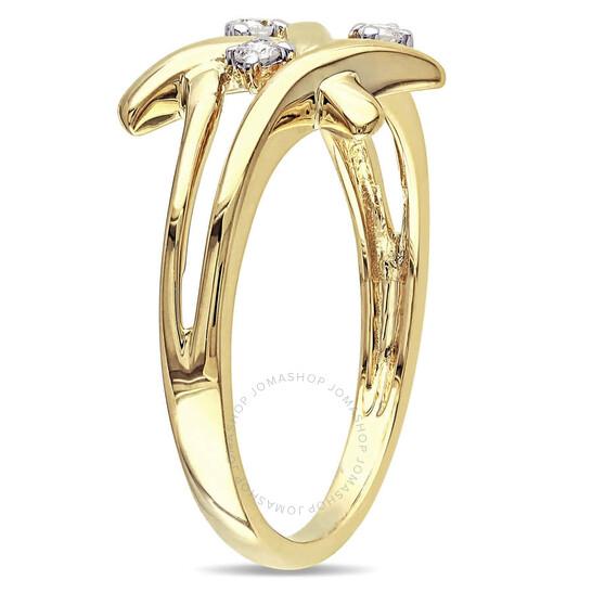 Amour Ladies 10k Yellow Gold 0.0801 CT Round Cut White Diamond 3 Stone Ring   Joma Shop
