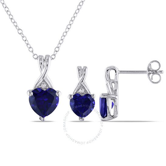 Amour Sterling Silver 3 3/4 CT TGW Created Blue Sapphire and Diamond Heart Pendant with Chain and Stud Earrings Set   Joma Shop