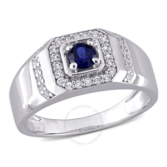 Amour Sterling Silver 5/8 CT TGW Created Blue Sapphire and Created White Sapphire Men's Ring   Joma Shop