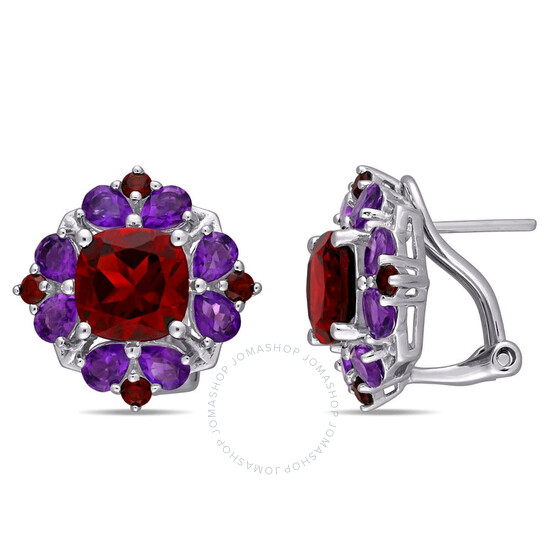 Amour Sterling Silver 8 7/8 CT Garnet and African Amethyst Floral Earrings   Joma Shop