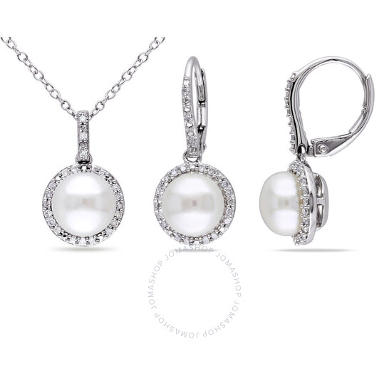 Amour Sterling Silver 8-8.5 MM Cultured Freshwater Pearl and 1/3 CT TW Diamond Halo Earrings and Pendant with Chain Set   Joma Shop