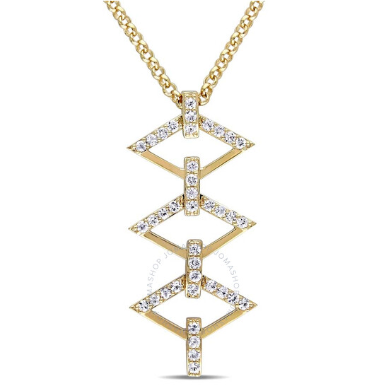 Amour White Sapphire Logo Ladder Necklace in 18k Yellow Gold Plated Sterling Silver | Joma Shop
