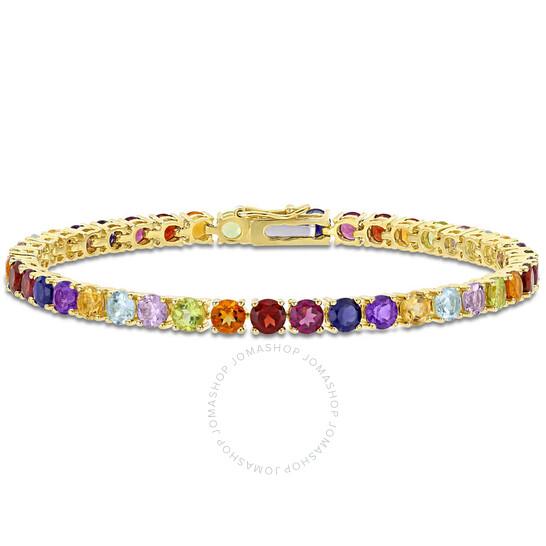 Amour Yellow Silver 12 CT TGW Multi Color Gemstone Tennis Bracelet | Joma Shop