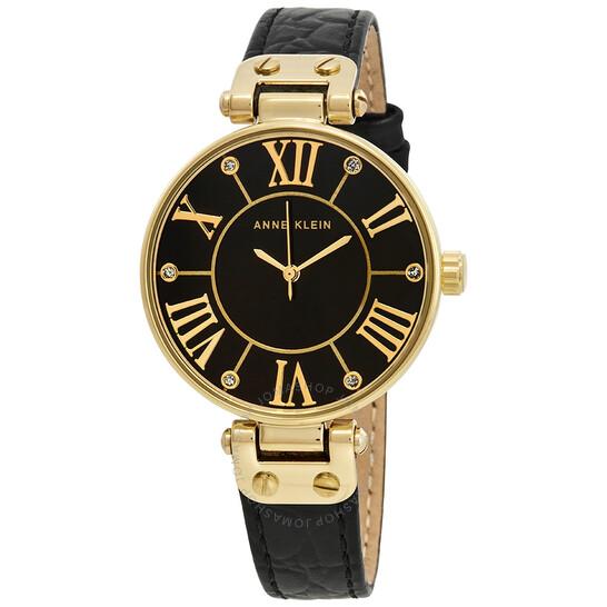 Anne Klein Black Dial Black Leather Ladies Watch 1396BMBK   Joma Shop