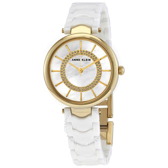 Anne Klein Quartz White Mother of Pearl Dial Ladies Watch 3308WTGB | Joma Shop