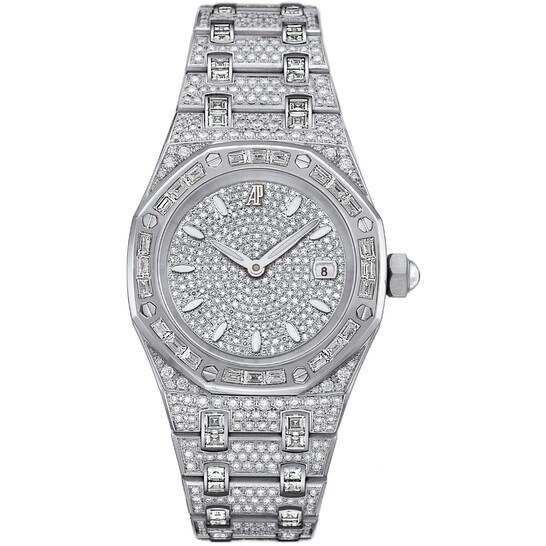 Audemars Piguet Royal Oak Diamond Pave White Gold Ladies Watch 67604BC.ZZ.1211BC.01   Joma Shop