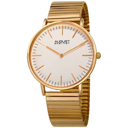 August Steiner Silver Dial Gold-tone Men's Watch AS8216YG   Joma Shop