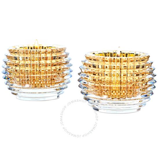 Baccarat Crystal Eye Votive Candle Holder - Gold - Set of 2   Joma Shop