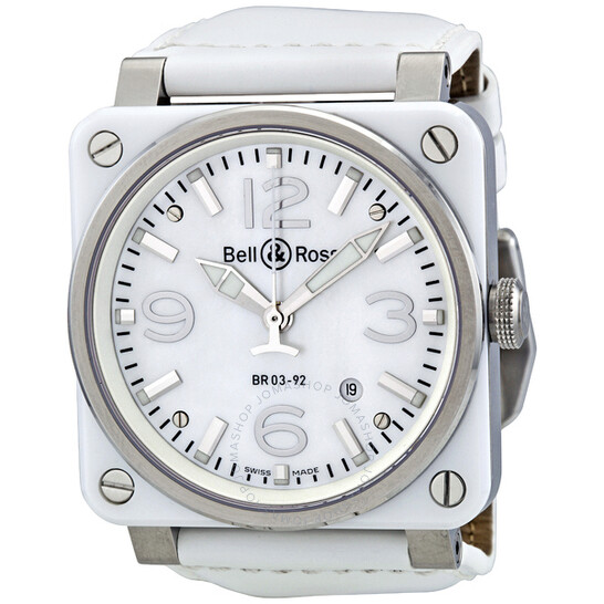 Bell And Ross Aviation Mother of Pearl White Ceramic Men's Watch BR0392-WHT-CER | Joma Shop