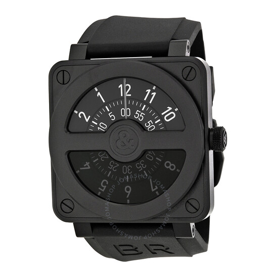 Bell And Ross Compass Black Dial and Black Rubber Strap Men's Watch BR01-92-COMCARBN   Joma Shop
