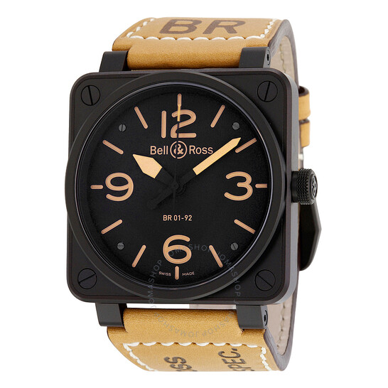 Bell And Ross Heritage Black Dial Tan Leather Men's Watch BR01-92-HERITAGE | Joma Shop