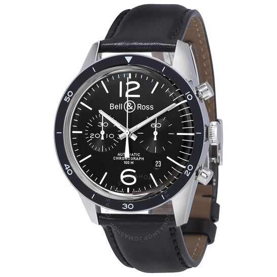 Bell And Ross Vintage Black Dial Automatic Men's Chronograph Watch BR126-BK-BZLCA   Joma Shop