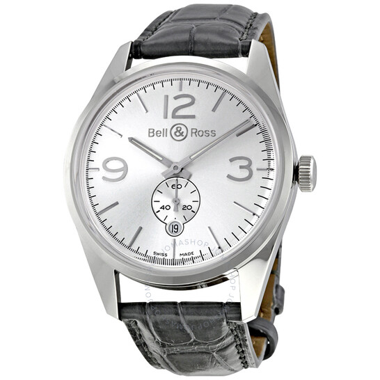 Bell And Ross Vintage Officer Silver Dial Grey Alligator Strap Automatic Men's Watch BR123-OFFICER-SIL | Joma Shop