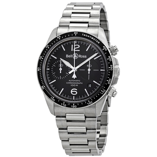 Bell And Ross Vintage V2-94 Chronograph Automatic Black Dial Men's Watch BRV294-BL-ST/SST | Joma Shop
