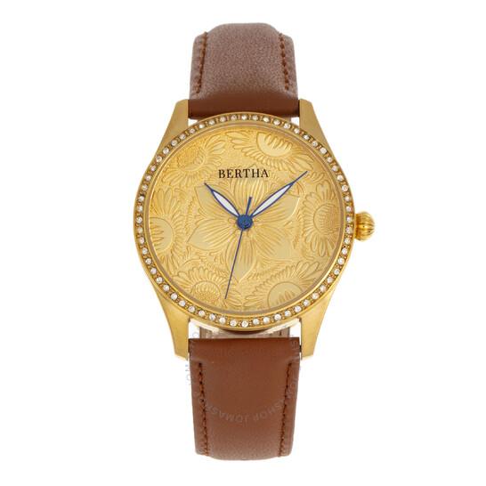 Bertha Dixie Quartz Crystal Gold Dial Ladies Watch BR9903 | Joma Shop